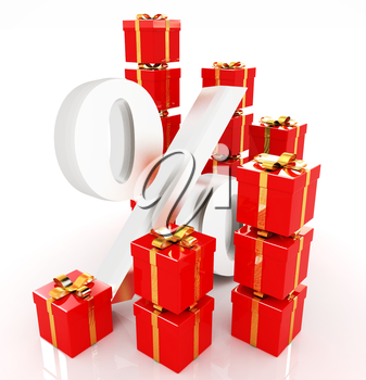 Percentage and gifts on a white background