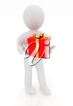 3d man gives red gift with gold ribbon on a white background