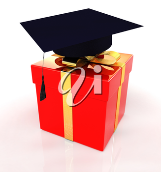graduation hat on a red gift on a white background