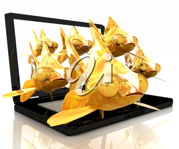 Gold fishea and laptop on a white background