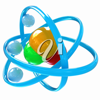 3d illustration of a water molecule isolated on white background
