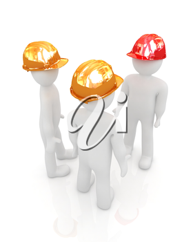3d mans in a hard hat on a white background