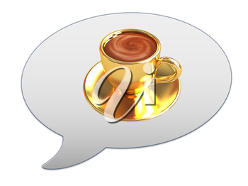messenger window icon. Coffee cup on saucer