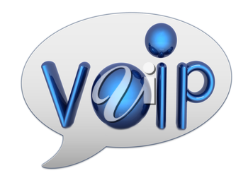 messenger window icon and Blue metallic word VoIP