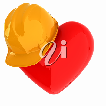 hard hat on heart
