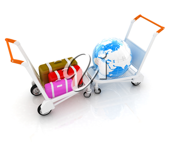 Trolley for luggage at the airport and earth. International tourism concept