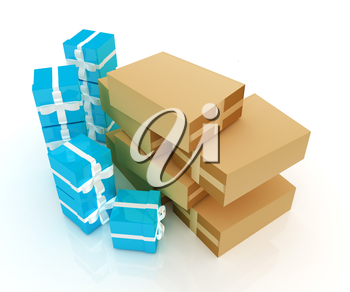 Cardboard boxes and gifts on a white background