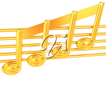 3D music note on staves on a white