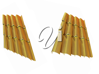 Gold 3d roof tiles isolated on white background