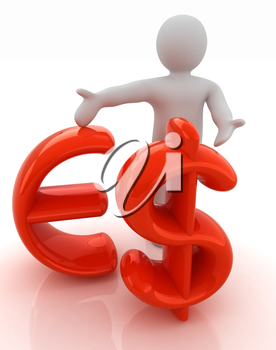 3d people - man, person presenting - dollar and euro sign
