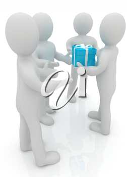 3d mans gives gifts on a white background