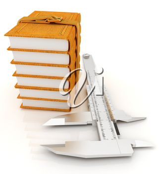 Vernier caliper and leather professional books. Best professional knowledge concept on a white background