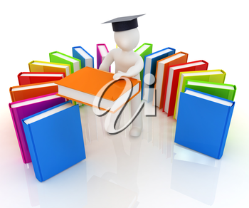 3d white man in a graduation hat with useful books - best gift a student on a white background