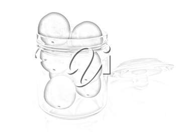 Jar with peaches on white background