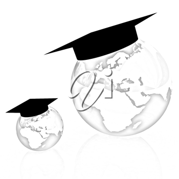 The growth of education. Globally. On a white background