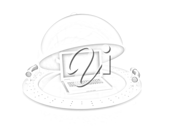 Restaurant cloche and laptop with open lid on a white background