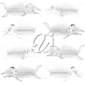 Set of 3d metall illustration of fish skeleton on a white background