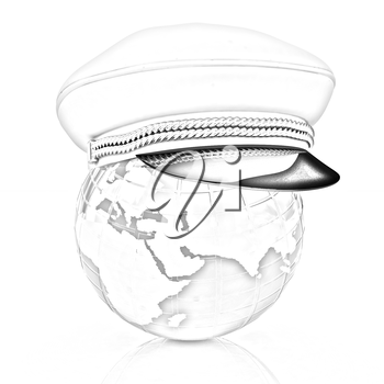 Marine cap on Earth on a white background