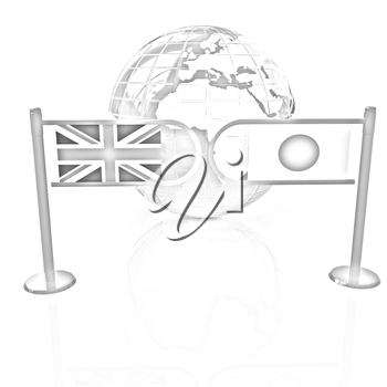 Three-dimensional image of the turnstile and flags of UK and Japan on a white background