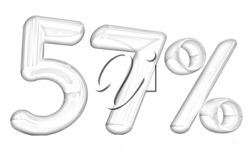3d red 57 - fifty seven percent on a white background