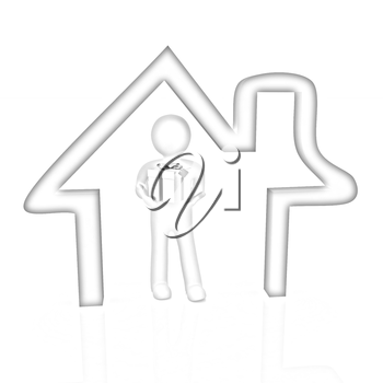 Presentation of new house. 3d man holds the gift, and is within the red icon house