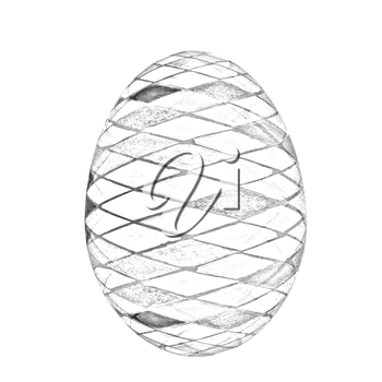 Easter Egg with colored strokes Isolated on white background. 3d