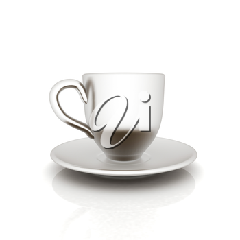 Cup on a saucer on white background