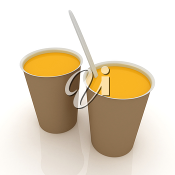 Orange juice in a fast food dishes
