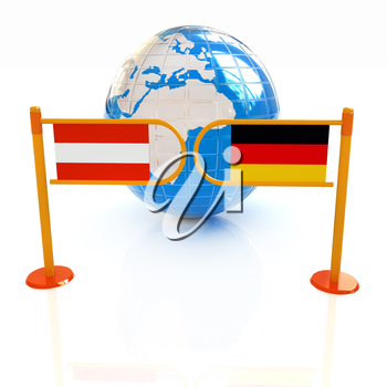 Three-dimensional image of the turnstile and flags of Germany and Austria on a white background