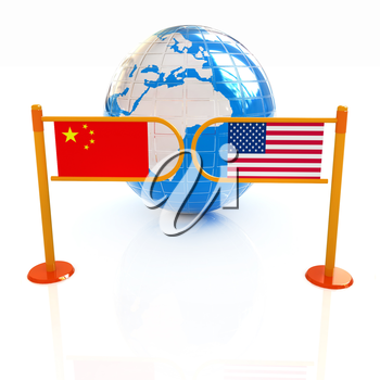 Three-dimensional image of the turnstile and flags of USA and China on a white background