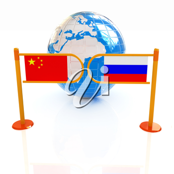 Three-dimensional image of the turnstile and flags of China and Russia on a white background