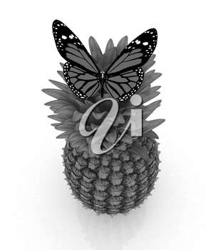 Red butterflys on a pineapple on a white background