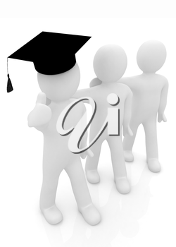 3d man in a graduation Cap with thumb up and 3d mans stand arms around each other on a white background