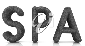 Spa 3D text from a green grass on a white background