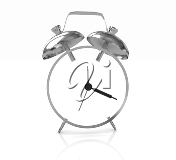 3D illustration of gold alarm clock icon on a white background