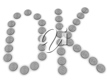 OK 3d text for gold dollar coin on a white background