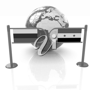Three-dimensional image of the turnstile and flags of Russia and Syria on a white background