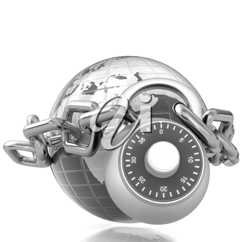 Earth globe close in chain and padlock on a white background