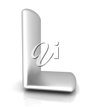 3D metall letter L isolated on white
