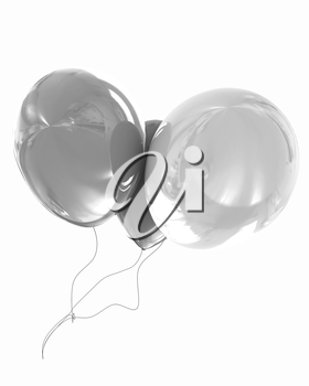 Color glossy balloons isolated on white