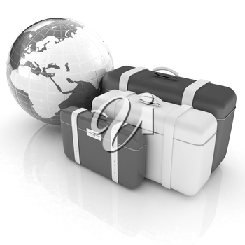 travel bags and earth on white