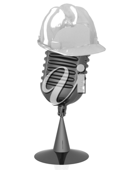 New 3d concept of technology education with microphone and hard hat