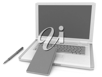 laptop and notepad on a white background