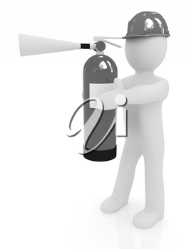 3d man in hardhat with red fire extinguisher on a white background