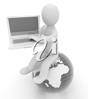 3d man sitting on earth and working at his laptop on a white background