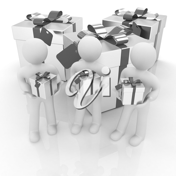 3d mans and gifts with red ribbon on a white background
