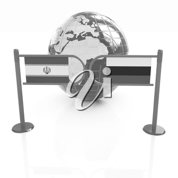 Three-dimensional image of the turnstile and flags of Russia and Iran on a white background