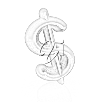 Dollar sign on white background