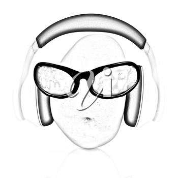 potato with sun glass and headphones front face on a white background
