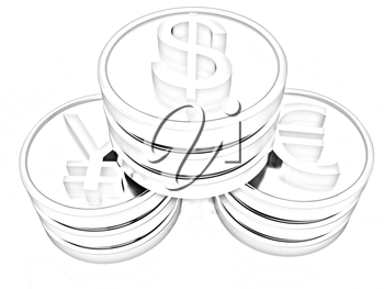 gold coins with 3 major currencies on a white background